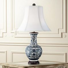 Windom Long Neck Blue and White Ceramic Table Lamp fave