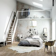 Scandanavian stairs CGI interiors project by Pikcells, via Behance RUG AND FLOOR