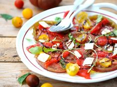 Carpaccio de tomates et poivrons