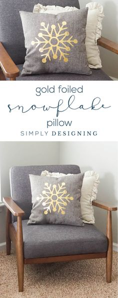 How to Foil Fabric and make a Gold Foiled Snowflake Pillow