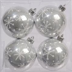 Lot de 4 boules FLOCON NEIGE ARGENT - Boules en plastique : Izaneo.com