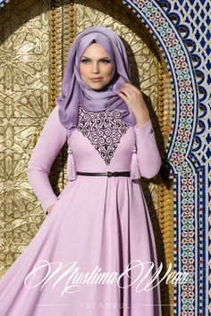 Muslima Wear Silk Way Collection- Floral embroidery Lila Dress