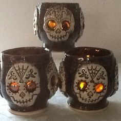 Day+Of+The+Dead+Candle+Holder.++from+MudHut+Pottery+for+$45.00