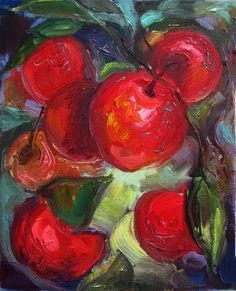 Fruit Oil Painting Original Still Life Red Apples on por Olivyea
