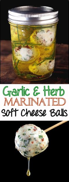 Recipe for creamy balls of soft cheese, like chevre or cream cheese, loaded with garlic, herbs and a little chili flake, then marinated in olive oil with even more herbs! Eat as is or spread on crackers or warm bread like a baguette, The bread soaks up all of that amazing garlicky herb oil goodness! So creamy and packed with flavor! #recipe #cheese