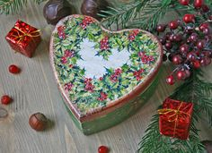 Vintage style decoupage box Christmas gifts Jewelry box Storage Candy box New years present handmade box Trinket box Heart holly wreath jewelry box vintage christmas poinsettia decoupage new years present Little casket candy box decoupage box vintage garland New Year Christmas Holiday gift boxes christmas wreath 24.00 USD #goriani