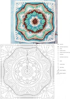 Looks like a double and treble crochet on those points of the grannies. Single crochet around the grannies, then single crochet the grannies together to make the seam ridge. The Ultimate Granny Square Diagrams Collection ⋆ Crochet Kingdom - Salvabrani Motif Mandala Crochet, Granny Square Crochet Pattern, Crochet Blocks, Crochet Diagram, Crochet Chart, Crochet Squares, Crochet Stitches, Crochet Granny, Mandala Rug