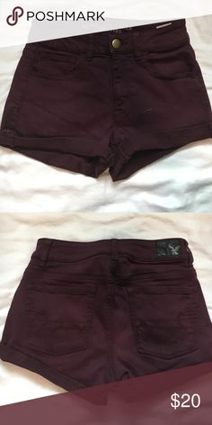 maroon AE shorts high waisted and begging material. only worn a few times and are in perfect condition! American Eagle Outfitters Shorts