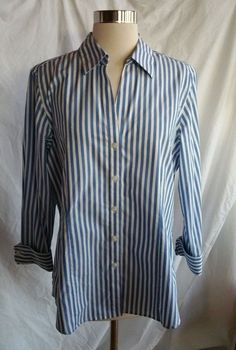 FOXCROFT Size L Wrinkle Free Button Down Shirt Top Blouse Blue Striped #TheLimited #ButtonDownShirt