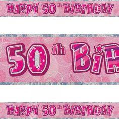 """Pink """"Happy 50th Birthday"""" banner. #Banner #BirthdayBanner #Pink #Birthday #Decoration #Party #PartyIdeas #PartyDecor #PartySupplies #PartyBanner #Partyngifts Happy 50th Birthday, Pink Birthday, Decoration Party, Party Banners, Party Supplies, Birthdays, Anniversaries, Birthday, Birth Day"""