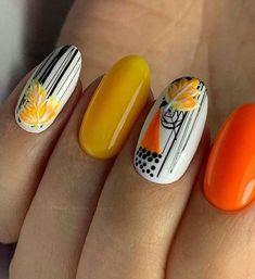 Fall Nail Art Designs, Beautiful Nail Designs, Fall Acrylic Nails, Autumn Nails, Cute Nails, Pretty Nails, Karma Nails, Multicoloured Nails, Sunflower Nail Art