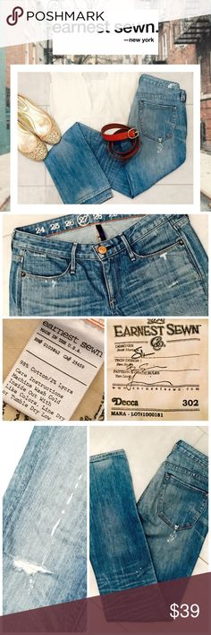 """EARNEST SEWN Light Wash """"Destroyed"""" Jeans Earnest Sewn light wash straight leg jeans.  Fabric is 98% cotton and 2% Lycra, just a little stretch to these, not much!  Measurements: inseam is 33"""", front rise is 7.5"""", back rise is 13"""".  Waist is approx. 15"""" across laying flat, ankle measures 7"""" across laying flat.  Size says 27 but these fit more like a 26 to me.  Jeans have hardly been worn, no stains and the only tears are those that came from the factory and are intentional, LOL! :) Earnest…"""