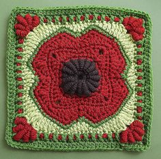 "Ravelry: 10"" Crocheted Poppy Bullion Block pattern by Donna Kay Lacey"