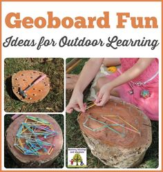 An easy DIY project to do with children - create wooden geoboards to explore patterns, shapes and colour while having fun with outdoor play! Great activity for home daycare and multiage groups!