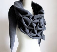 Geometric wool shawl - superwarm sculptural wrap - triangular 100% wool scarf
