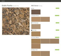Giallo Fiorito. Granite Tile. Flooring. MSI Stone. Behr. Benjamin Moore. PPG Pittsburgh. Dutch Boy. Sherwin Williams. Valspar Paint.  Click the gray Visit button to see the matching paint names.