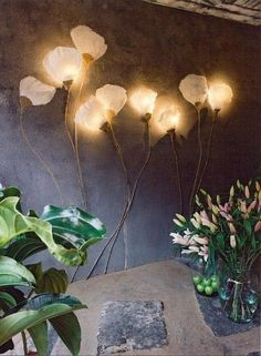8 Creative Modern Wall Lamp To Light Up Your Summer flower wall lamp Home Room Design, Home Interior Design, Interior Decorating, Stylish Interior, Plaster Art, Garage Lighting, Wall Lighting, Lighting Ideas, Creative Walls