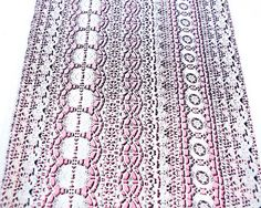 Bright Light Pink and Off White Lace Design by felinusfabrics