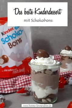 o machst du das beste Kinderdessert mit Schokobons  #schokobons Feta, Food And Drink, Pudding, Recipes, Inspirational Quotes, Drinks, Pies, Yummy Food, Food And Drinks