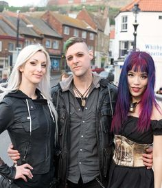 kato steamgirl (kate lambert, steampunk model and designer), steampunk band abney park bassist Derek, and La Carmina at Whitby Goth Weekend 2015. More photos - http://www.lacarmina.com/blog/2015/05/whitby-goth-weekend-fashion-steampunk-goths/