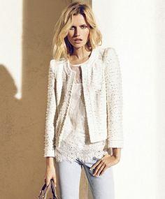 blusa blonda y chaqueta chanel blanca Massimo Dutti Lookbook Junio 2012