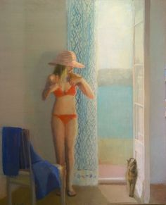 Vamos a la Playa - Alejandra Caballero Spanish, b. Oil on canvas, 130 x 105 cm. Cool Artwork, Bikinis, Swimwear, Cover Up, Beach, Spanish, Canvas, Fashion, Pintura