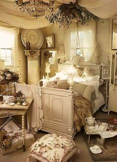 shabby chic bedroom | some good ideas but wayyyyy too cluttered for my taste