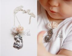 Baby girl baptism necklace by NaturalStonesJewelry on Etsy