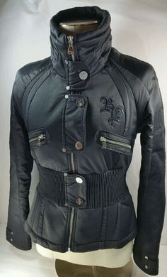 Baby Phat Fitted Military Winter Jacket Black Polyester Net Lining Women's M #BabyPhat #Military