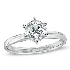 1 CT. Certified Diamond Solitaire Engagement Ring in 14K White Gold (J/I2) - View All Rings - Zales