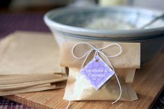 Lavender Oatmeal Tub Tea - this is the best idea! No messy clean up or herbs to pick out of the drain.