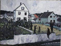 Amund Håland:   Fra norsk småby 11, 80x60 cm olje på lerret, 201...