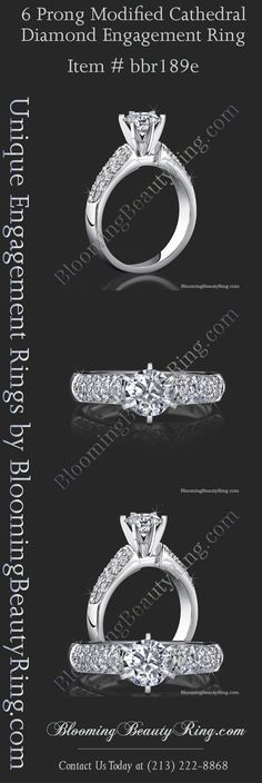 6 Prong pave diamond accented engagement ring handmade with your choice of metal and type of center stone.  By BloomingBeautyRing.com  (213) 222-8868