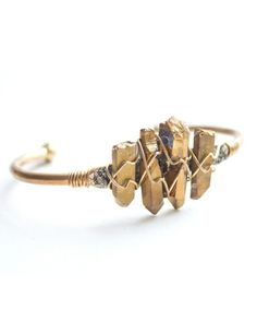 Gold Crystal Wire Cuff