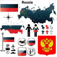 Russia Map Vector of Russia set with detailed country shape with region borders, flags and icons. Package contains: EPS version), JPG pixels, RGB). Created: GraphicsFilesIncluded: VectorEPS Layered: No MinimumAdobeCSVersion: CS Tags: administrative