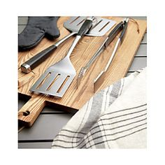 Wood-Handled Grill Tool Set - Crate and Barrel Crate And Barrel, Barrel Bbq, Man Crates, Grill Parts, Grill Accessories, Bbq Tools, Grill Master, Barbecue Grill, Wooden Handles