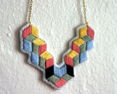 Pyramid Cubes Embroidered Necklace by spinthread on Etsy