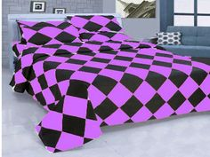 14'' 4 Pc Egyp.Cotton Purple & Black Diamond Style Duvet Cover Set Twinxl Size.