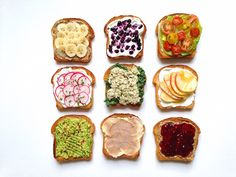 Top your toast in 9 creative ways, from cinnamon sugar to avocado and lemon juice.