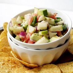Bring this apple avocado salsa with honey-lime dressing to your next tailgating party.