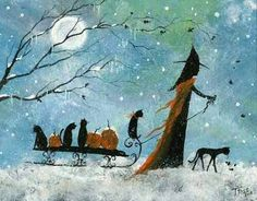 A snowy Halloween with a witch, black cats, and pumpkins with the foggy full moon. Halloween Painting, Holidays Halloween, Spooky Halloween, Vintage Halloween, Halloween 2020, Happy Halloween, Samhain, Witch Cat, The Worst Witch
