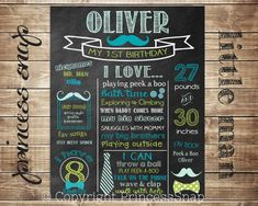 First Birthday Chalkboard - Mustache & Bow Ties CUSTOMIZED Poster Sign Birthday Printable File - Baby's First Birthday - Boy or Girl