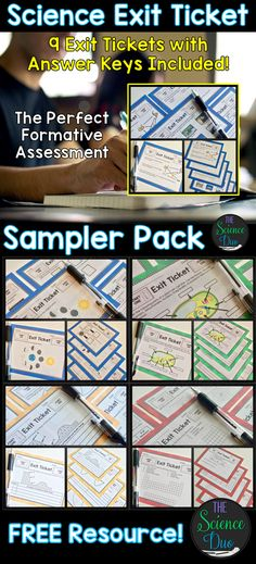 FREE Resource - Science Exit Ticket Sampler Pack!  Contains 9 exit tickets, answer keys, and suggestions for use.