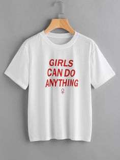 To find out about the Slogan Print Tee at SHEIN, part of our latest T-Shirts ready to shop online today! Blusas Crop Top, Cool T Shirts, Tee Shirts, Latest T Shirt, Statements, Cotton Style, Printed Tees, Slogan, Just In Case
