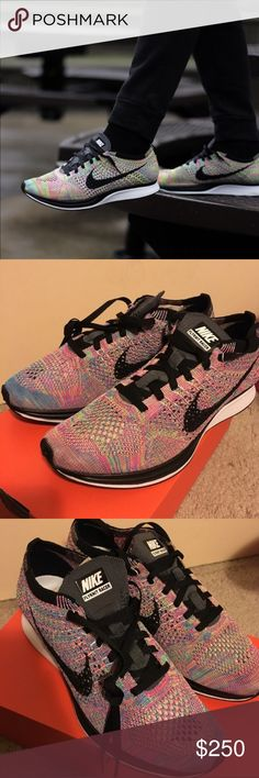 NIKE Flyknit Racer Multi Color 100% AUTHENTIC. BRAND NEW IN BOX. VERY VERY RARE COLOR-WAY, SOLD OUT EVERYWHERE! Nike Shoes Sneakers