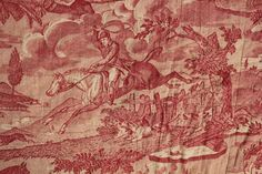 Antique French toile  Hunting red toile c1800-1825 large textile linen HORSE
