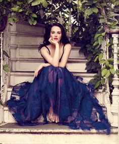 "Jessica Brown Findlay in a beautiful blue Valentino dress, ""Perhaps the most beautiful thing she's ever worn"", Vogue UK August 2011-Photography by Jason Bell"