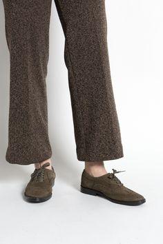 Vintage 70s Olive Brown Suede Wing Tip Oxfords