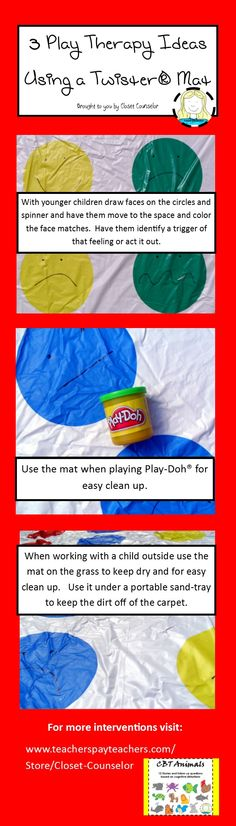 3 Ideas for Using a Twister Mat with children #playtherapy