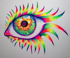 colorful paintings of eyes by PixieCold and others